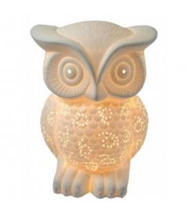Lampe en porcelaine blanche Hibou 20 cm