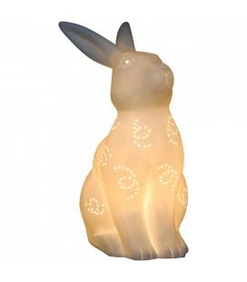 Lampe en porcelaine blanche Lapin 26 cm