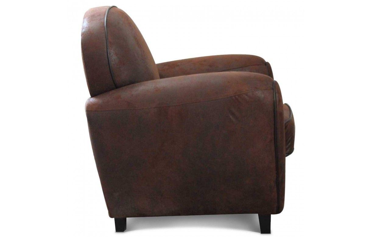 fauteuil club vintage marron en microfibre havane. Black Bedroom Furniture Sets. Home Design Ideas