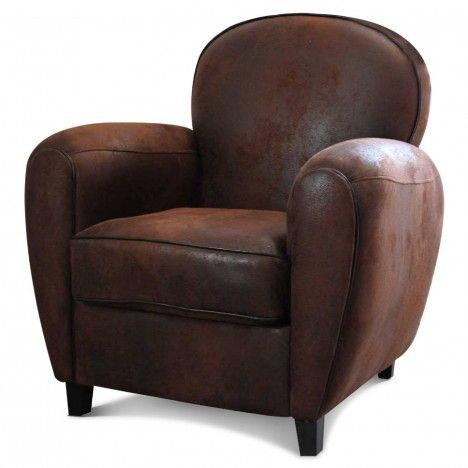 fauteuil club vintage marron en microfibre havane. Black Bedroom Furniture Sets. Home Design Ideas