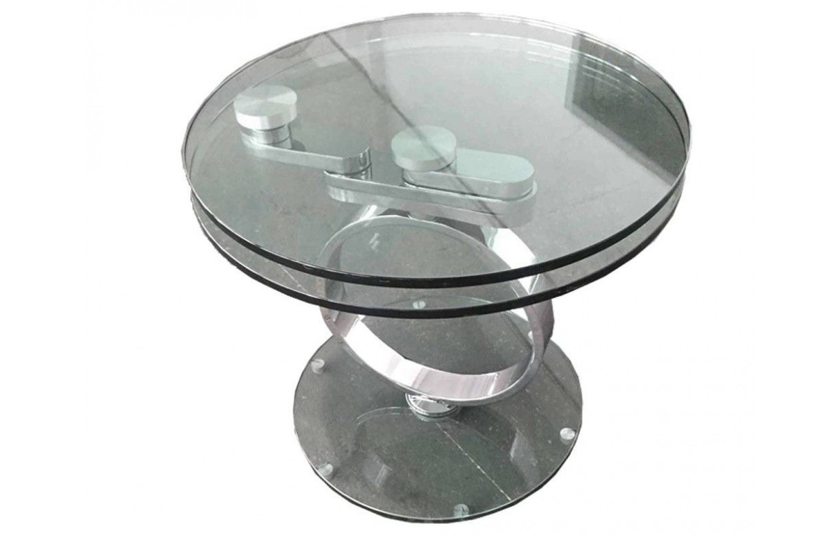 table basse ronde extensible en verre tremp 12mm brina. Black Bedroom Furniture Sets. Home Design Ideas