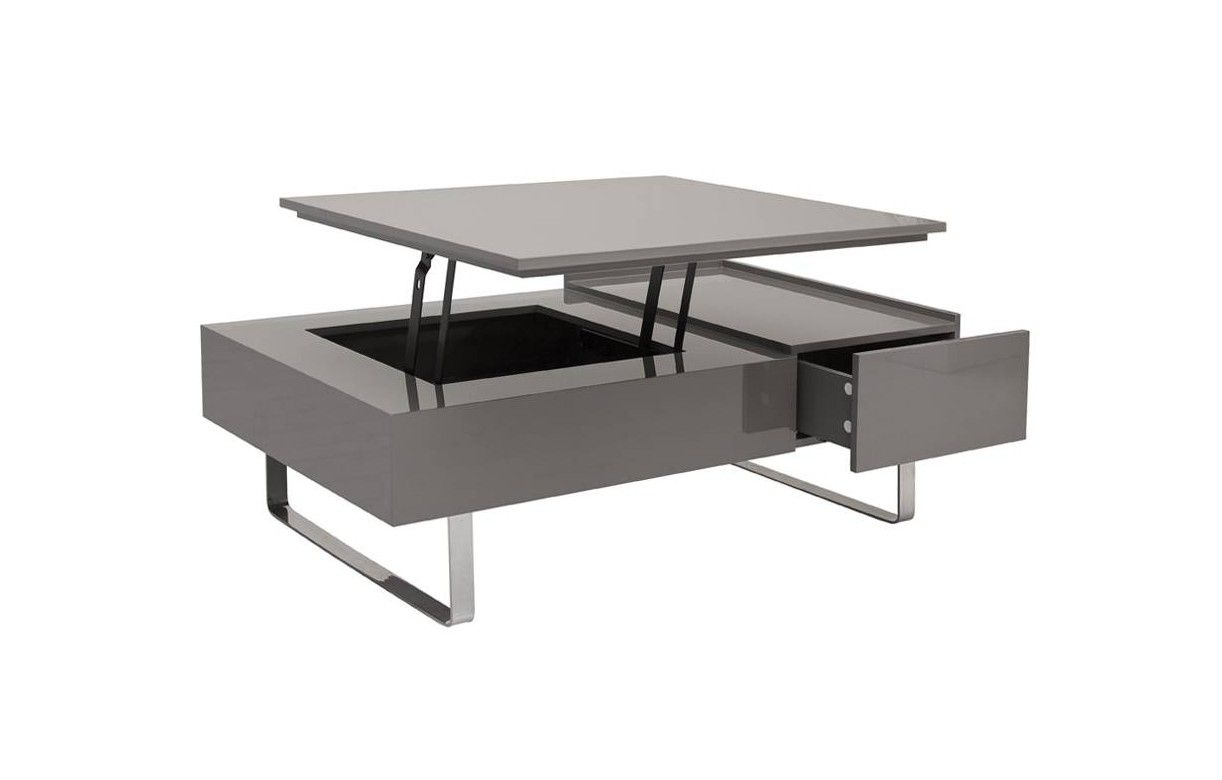 Table basse laqu e avec tiroir et plateau relevable for Table basse scandinave plateau relevable