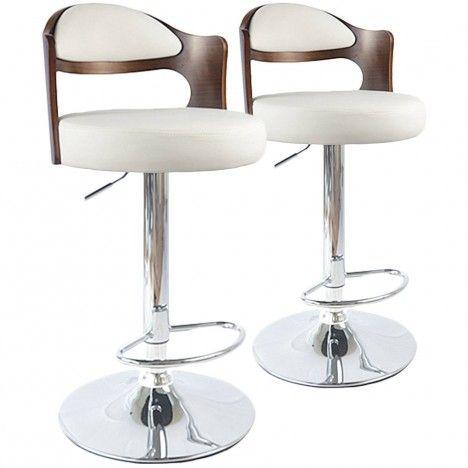 Lot de 2 chaises de bar pivotantes bicolore bimatière Ruby -