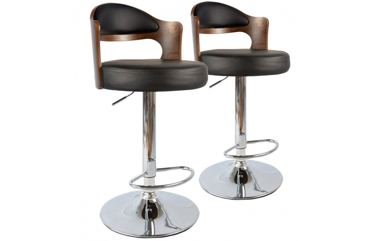 Lot de 2 chaises de bar pivotantes bicolore bimati re ruby for Chaise de bar ajustable