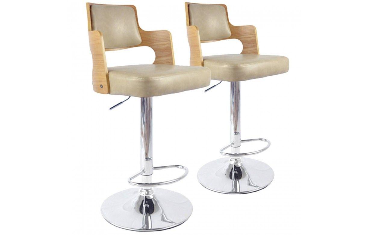ff956974efef90 Chaises de bar bois clair et noir simili cuir - Lot de 2