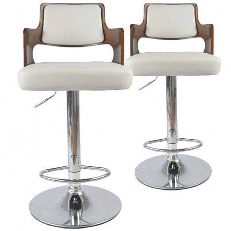 Chaises de bar bois et simili cuir Russel - Lot de 2 -