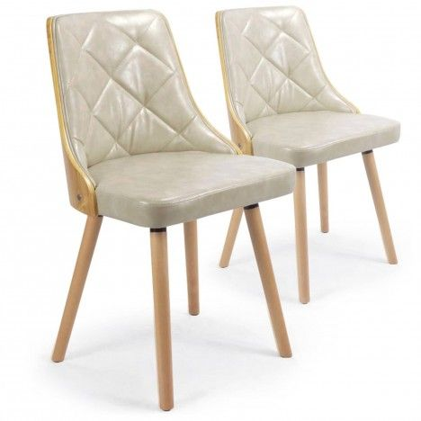 Lot de 2 chaises scandinaves bicolores Lalix -