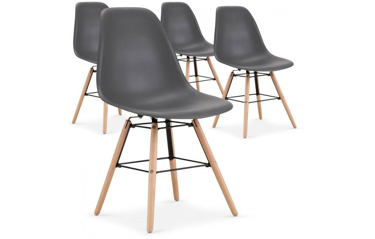 lot de 4 chaises design noire pas ch res scandinaves. Black Bedroom Furniture Sets. Home Design Ideas