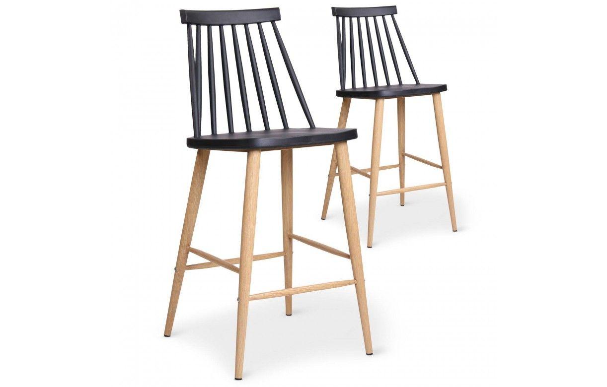 chaise de bar style bistrot scandinave lot de 2. Black Bedroom Furniture Sets. Home Design Ideas