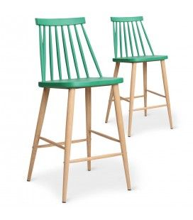 Chaise de bar style bistrot scandinave - Lot de 2 -