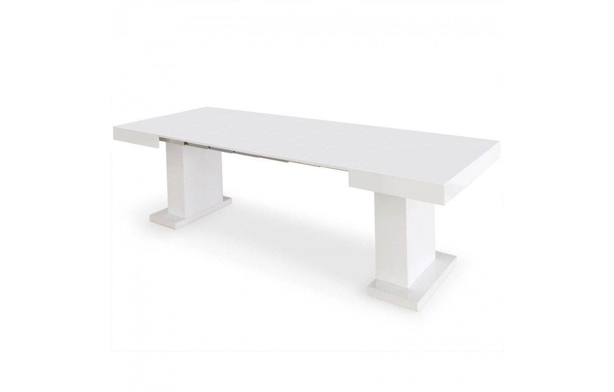 Table extensible b ton cir blanche ou noire for Table extensible effet beton