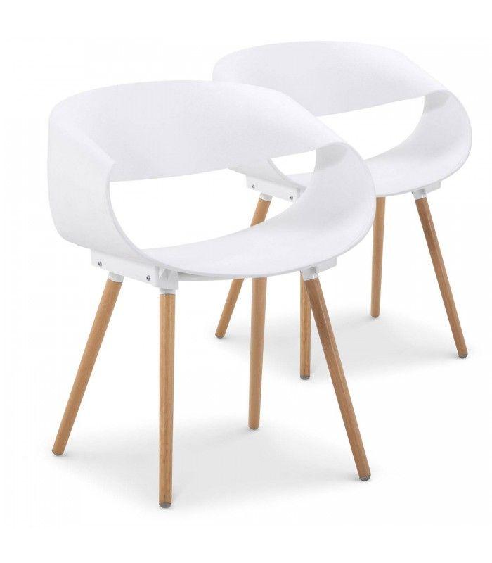 chaise design scandinave grise et bois - lot de 2