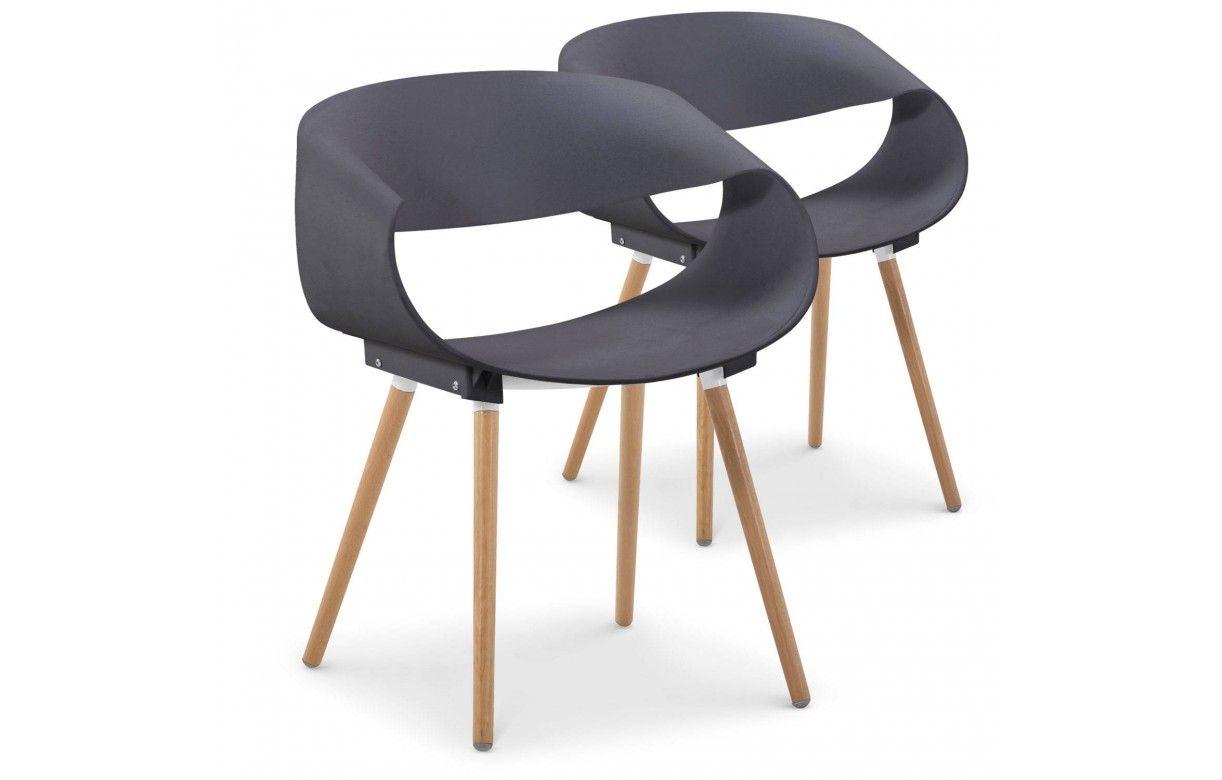 chaise design scandinave grise et bois lot de 2. Black Bedroom Furniture Sets. Home Design Ideas