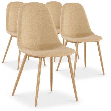 Lot de 4 chaises scandinaves beige ou gris foncé Gao -