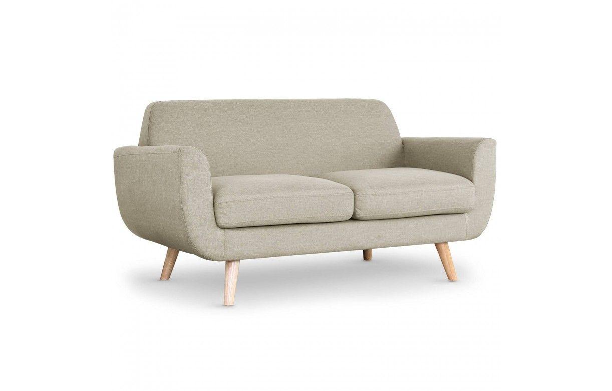 canapé 2 places style scandinave tissu et pieds bois danube