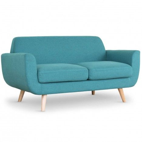 Canapé 2 places style scandinave tissu et pieds bois Danuby -