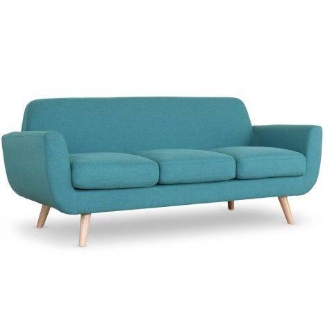 Canapé 3 places style noirdique tissu et pieds bois Danuby -