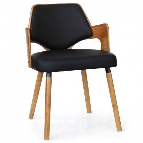 Chaise scandinave bois et simili cuir Dimy - Lot de 2 -