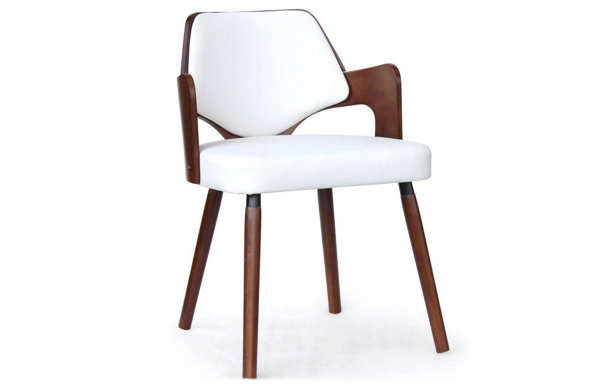 Chaise scandinave bois fonc et blanc for Chaise salle a manger bois et cuir