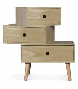 chevet style scandinave blanc modulable en bois 3 tiroirs boreal. Black Bedroom Furniture Sets. Home Design Ideas