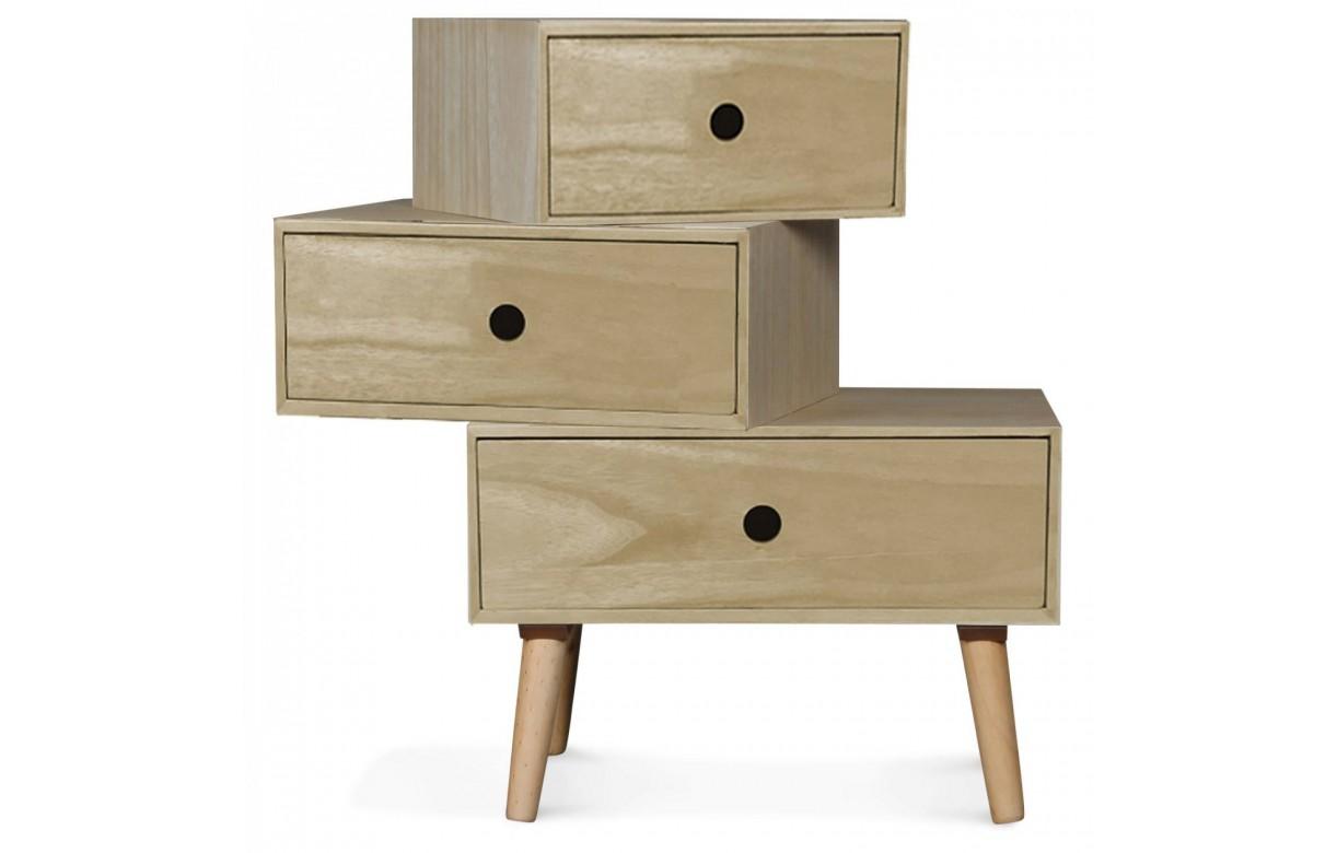 chevet scandinave bois clair modulable 3 tiroirs boreal. Black Bedroom Furniture Sets. Home Design Ideas