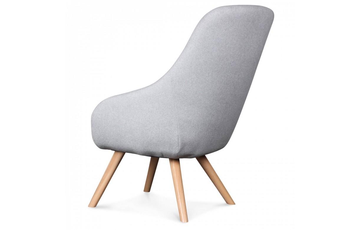 fauteuil scandinave gris et bois clair vintage. Black Bedroom Furniture Sets. Home Design Ideas