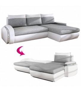 Canapé d'angle convertible gris et blanc en tissu et simili cuir Valerya