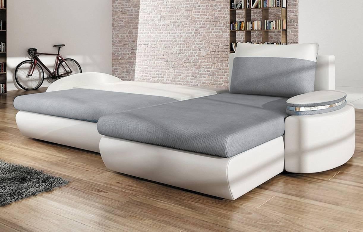 Canap d 39 angle convertible gris et blanc en tissu et - Convertible simili cuir ...