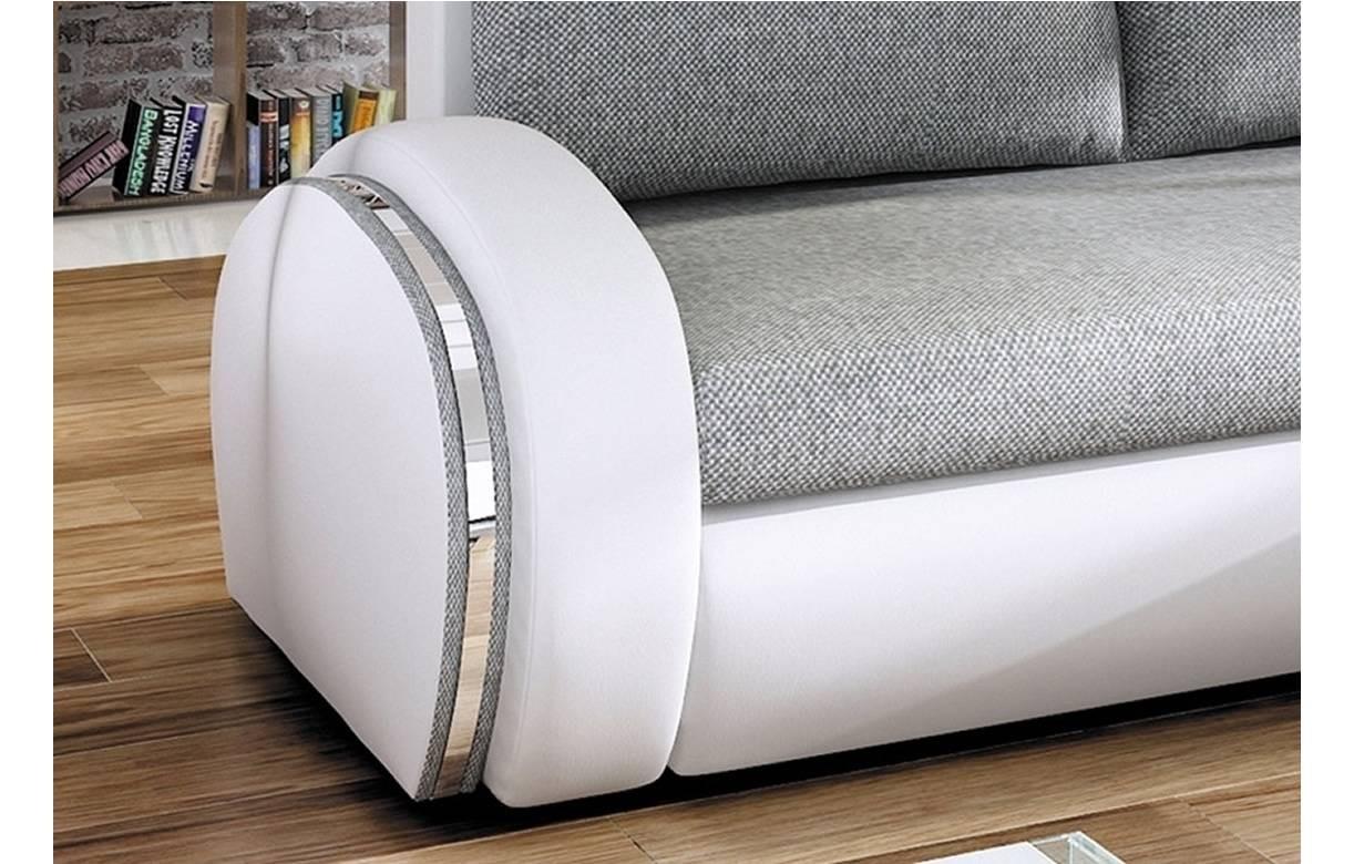 Canapé d angle convertible gris et blanc en tissu et simili cuir