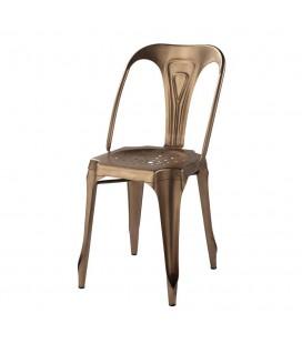 Chaise design industriel en métal cuivré empilable -