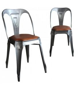 Chaises x 2 - métal et assise simili cuir vintage