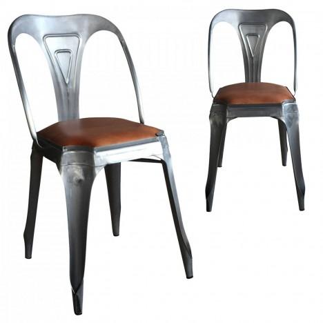 Chaises x 2 - métal et assise simili cuir vintage -
