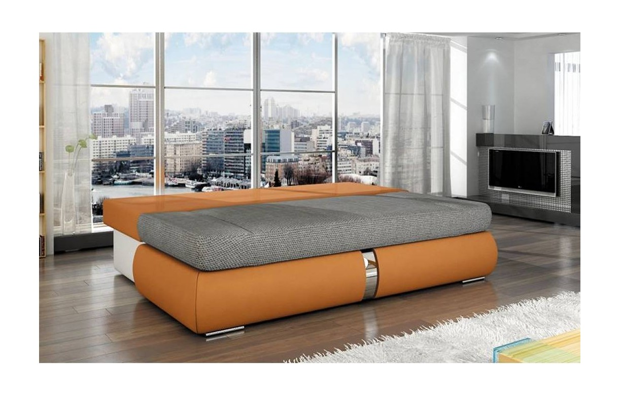 canap banquette convertible orange et tissu gris decome store. Black Bedroom Furniture Sets. Home Design Ideas
