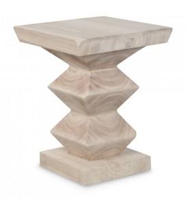 Table de chevet en bois massif sculté