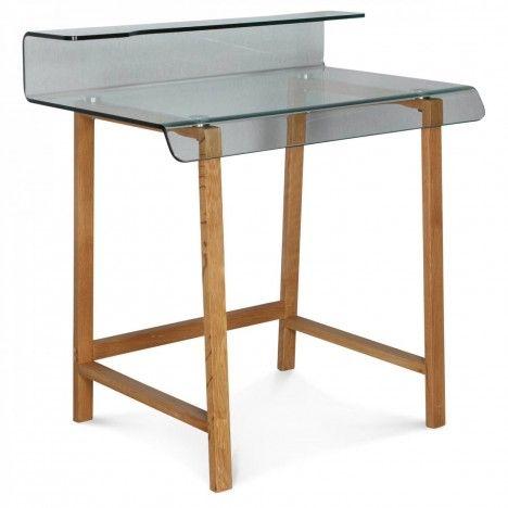 Bureau en verre et pieds bois ou métal noir -