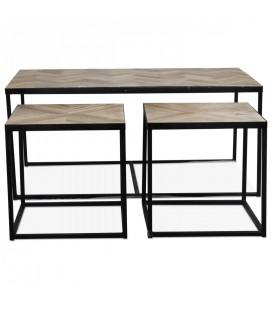 Table basse 3 en 1 bois clair et métal -