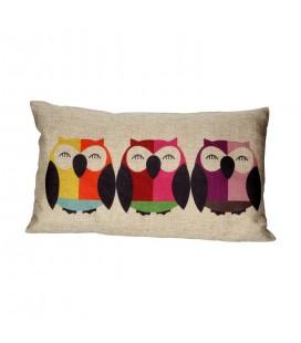 Coussin décoratif hibou oiseaux multicolore -