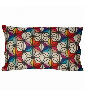 Coussin multicolore motifs nordiques scandinave -