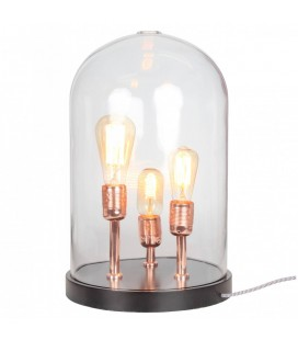 Lampe à poser 3 ampoules sous cloche en verre -