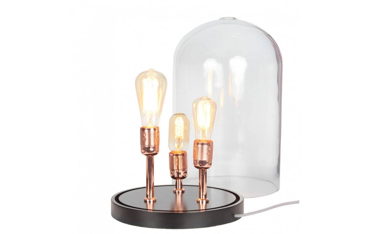 lampe poser 3 ampoules sous cloche en verre. Black Bedroom Furniture Sets. Home Design Ideas