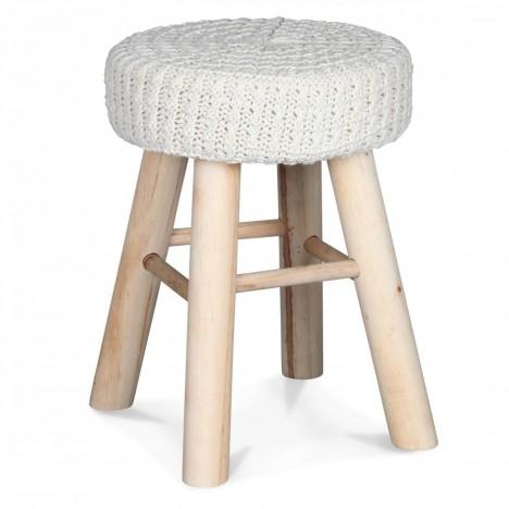 Tabouret rond marron chiné ou blanc tricoté avec pieds bois