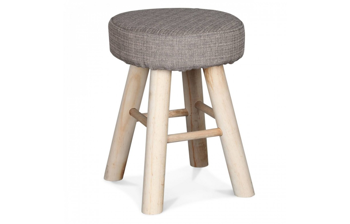 tabouret rond marron chin ou blanc tricot avec pieds bois. Black Bedroom Furniture Sets. Home Design Ideas