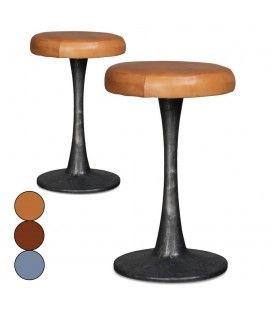 Tabouret en métal avec assise en cuir Doria - Set de 2