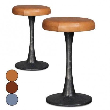 Tabouret en métal avec assise en cuir Doria - Set de 2 -