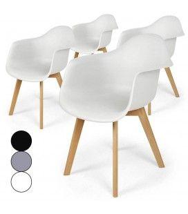 Chaises scandinaves avec pieds bois Prady - Lot de 4 -