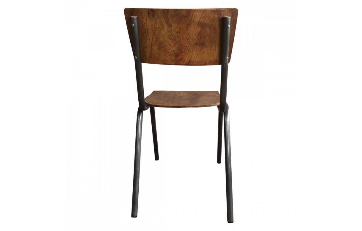 Chaise colier bois et m tal vintage lot de 4 - Chaise metal et bois ...