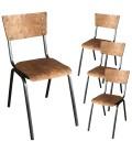 Chaise écolier bois et métal vintage - Lot de 4
