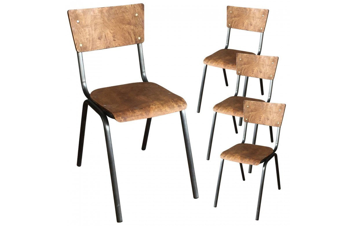 Chaise colier bois et m tal vintage lot de 4 for Chaise ecolier vintage