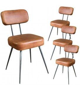 Chaise vintage cuir marron clair et pieds métal - Lot de 4