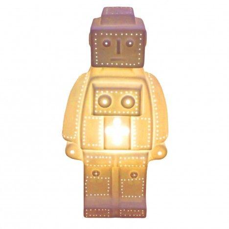 Lampe déco robot tyle Lego blanche design 30 cm -